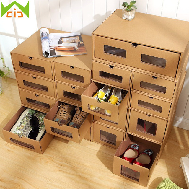WCIC DIY Kraft Paper Shoe Organizer Drawer Shoe Storage Box Rectangle  Thickened Paper High Heel Container