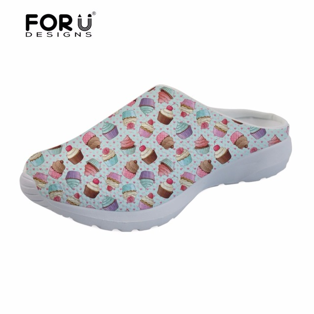 Forudesigns Sandals Women Cake Decorator Cupcake Print Summer Footwear Ladies Slip-on Breathable Sandals Casual Platform Zapatos Fragrant Aroma Shoes Heels