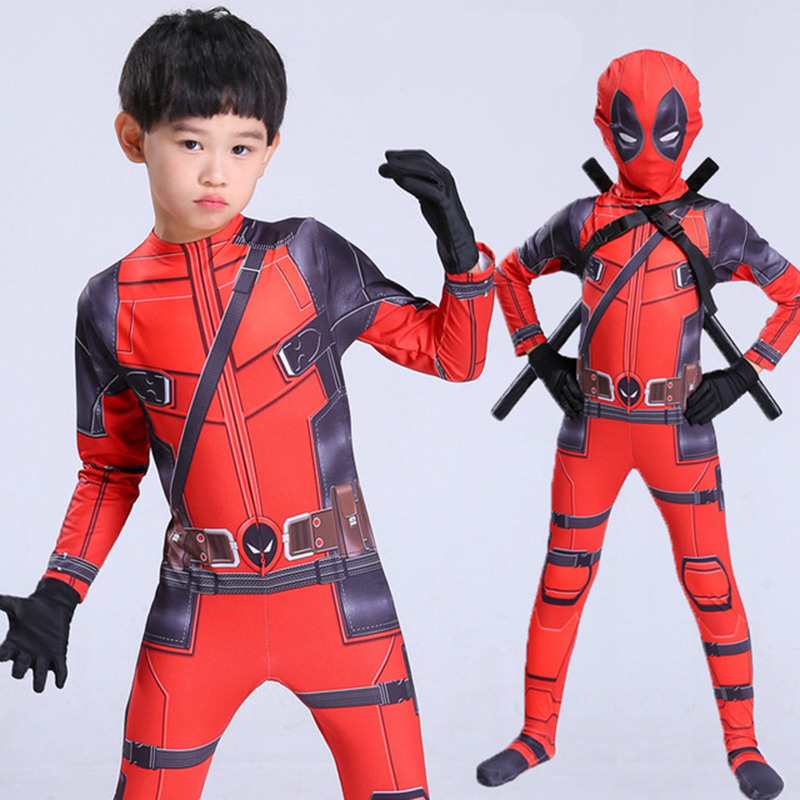 Superhero Arrival Deluxe Boys Marvel Deadpool Costume girls boys children Muscle Movie Halloween Carnival Party Cosplay Costumes