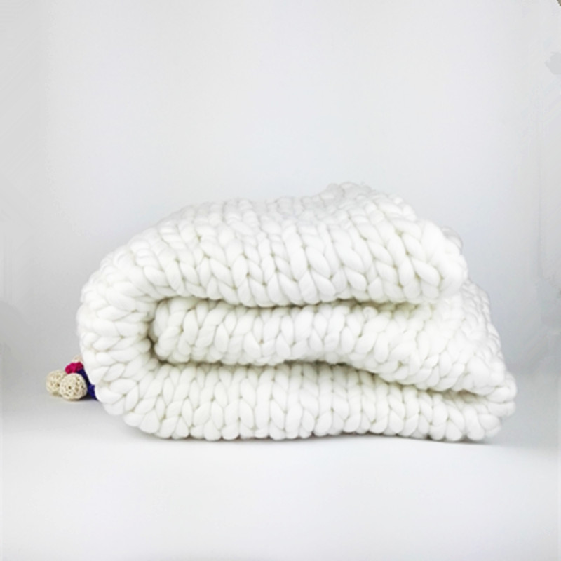Knitting Wool Blanket : Aliexpress buy super chunky hand knit cm wool