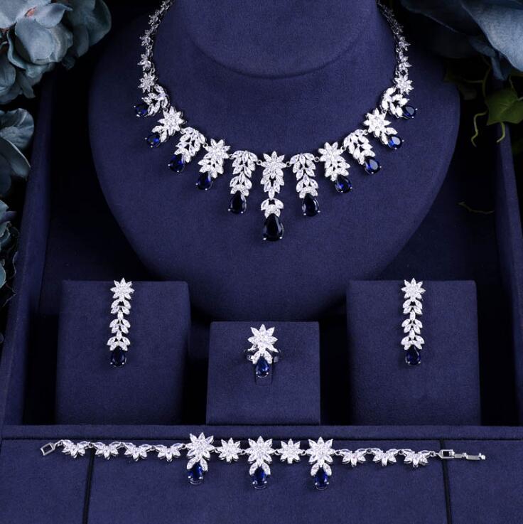 Accessoires nigéria zircone de mariée pour les femmes partie de luxe Dubai collier Bracelet boucles d'oreilles anneaux CZ cristal ensembles de bijoux de mariage-in Parures de bijoux from Bijoux et Accessoires    1
