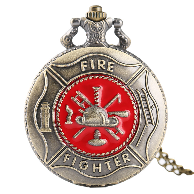 Pocket Watch Fire Fighter Red Pattern Full Hunter Bronze Quartz Watches Antique Unique Firefighter Men Women Gift With Bag