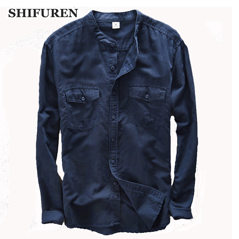 SHIFUREN Men Long Sleeve Linen & Cotton Shirts High quality Causal Style Breathable Chinese Collar Dress Shirts Size S-XXL