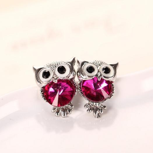 H:HYDE Brand Jewelry Crystal Owl Stud Earrings For Women Vintage 11 Colors Animal Statement Earrings Brincos oorbellen