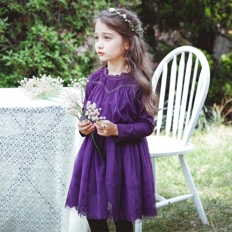 2018 New Spring Autumn Fashion Princess Girls Dress Floral Long Sleeve Ball Gown Robe Fille Mesh Ruched Elegant Party Dresses ruched sleeve dolphin hem floral blouse