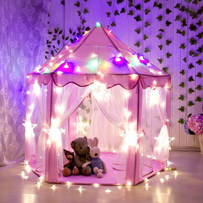 Princess Play Decor Tent Foldable Princess Folding Tent Children Castle Play House Kids Gifts Outdoor Toy Tents Hanging Decor