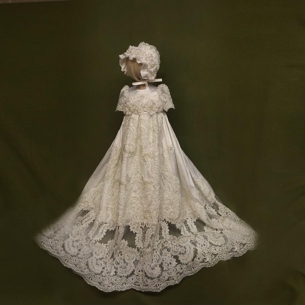 Avec chapeau bébé fille robes de baptême solide a-ligne perles o-cou dentelle formel Long Style 1 an anniversaire robe de baptême Vestidos