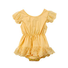 Pudcoco Fancy Lace Sleeve Newborn Toddler Baby Girls Yellow Romper Playsuit Jumpsuit Outfits Sunsuit(China)