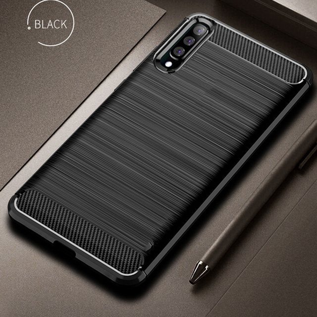 For Samsung Galaxy A70 Case Carbon fiber Cover Shockproof Silicon Phone Case For Galaxy A 70 Cover Full Protection Bumper Shell