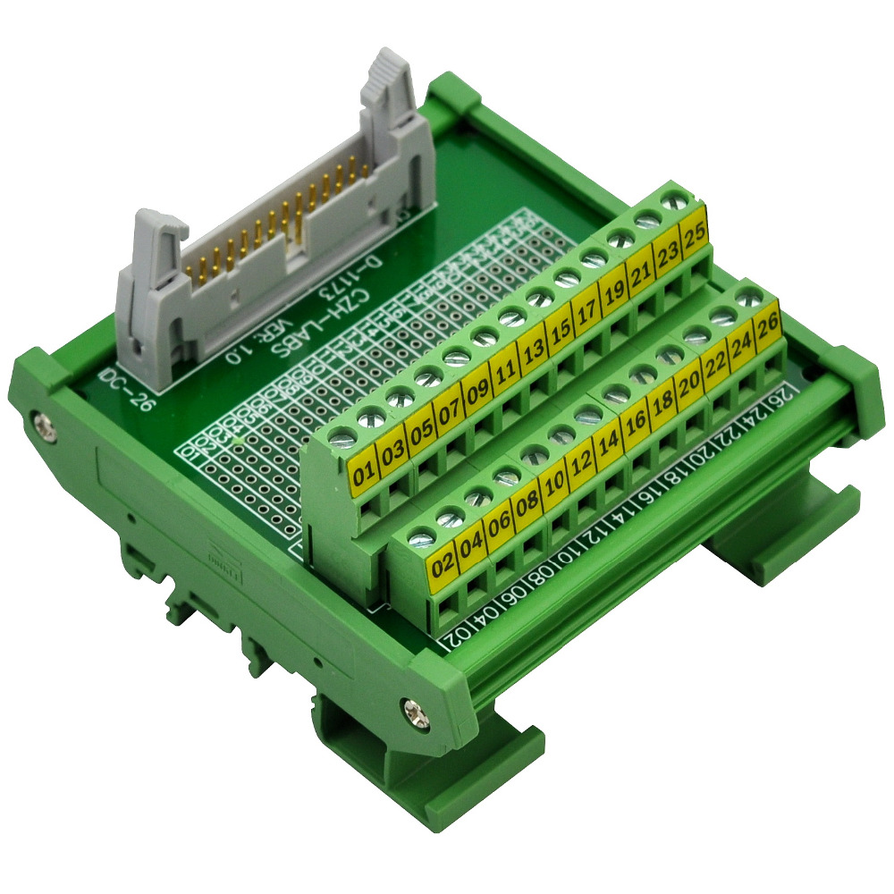 CZH-LABS DIN Rail Mount IDC-26 Male Header Connector Breakout Board Interface Module, IDC Pitch 0.1, Terminal Block Pitch 0.2 din rail mount d sub db78hd female interface module breakout board dsub db78