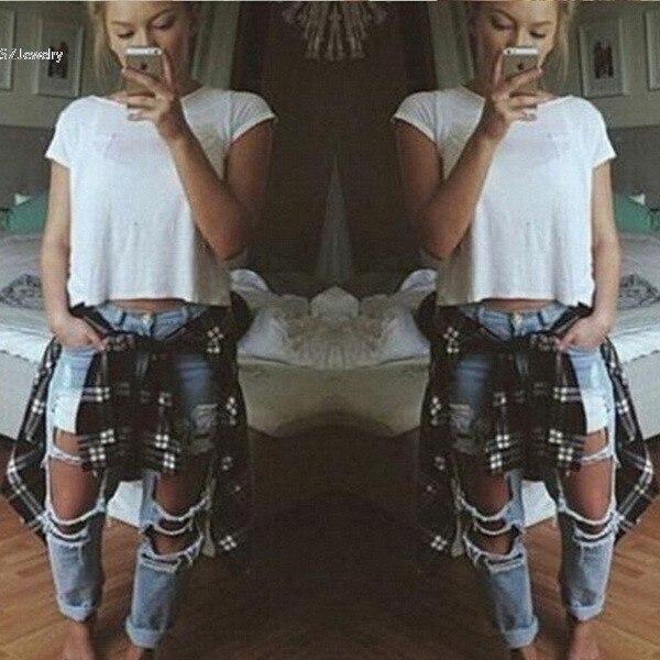 98424c8b55c Calsas рваные джинсы для женщин мешковатые светло голубые джинсы с ...