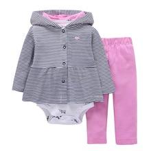 Newborn Baby Boy Girl Set Clothes Cotton Full Sleeve Striped Hooded 2018 New Arrival Coat+elephant Print O-neck Romoper+pants