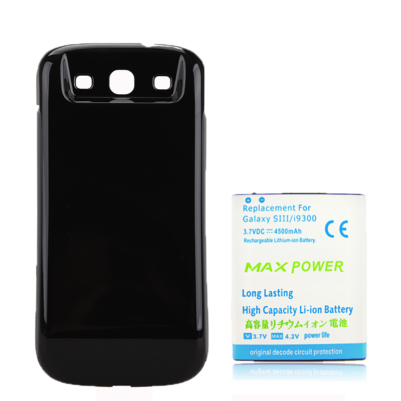 For Galaxy SIII 4500mAh Extended Rechargeable Battery + Black Back Case Cover For Samsung Galaxy S 3 III S3 i9300 Free Shipping ...