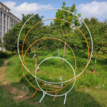 circle wedding props birthday decor wrought iron round ring arch backdrop round arch lawn artificial flower row stand wall shelf(China)