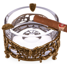 large crystal Cigar ashtray luxurious bronze carving butterfly CE-0129