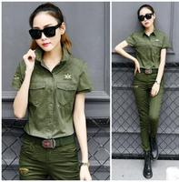Women Summer Autumn Short Sleeves Uniform 2 Pieces Sets Suits Army Green Shirts And Full Length
