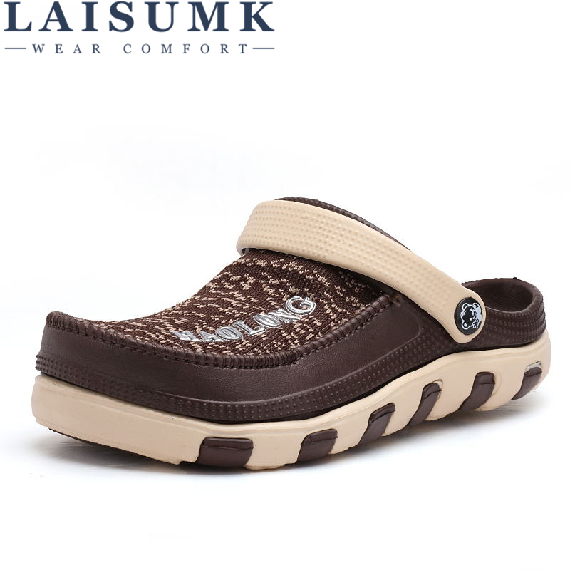 LAISUMK Summer Soft Bottom Beach Sandals Men Shoes Driving Shoes Mens Jelly Casual Sandals Superstar Fashion Breathable Flats