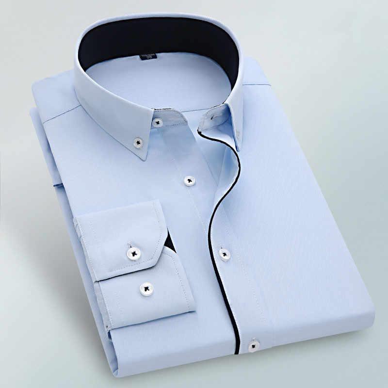 Nieuwe solid strijkvrij easy care formele mannen dress shirt zonder borst pocket knop vierkante kraag lange sleve mannelijke tops