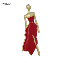 Wxjcan Model Meisje Nieuwigheid Broches Vro Jurk Hoed Accessoires Party Bag Broche Hijab Pins Emaille Ballet Broche Bijuterias B5086(China)