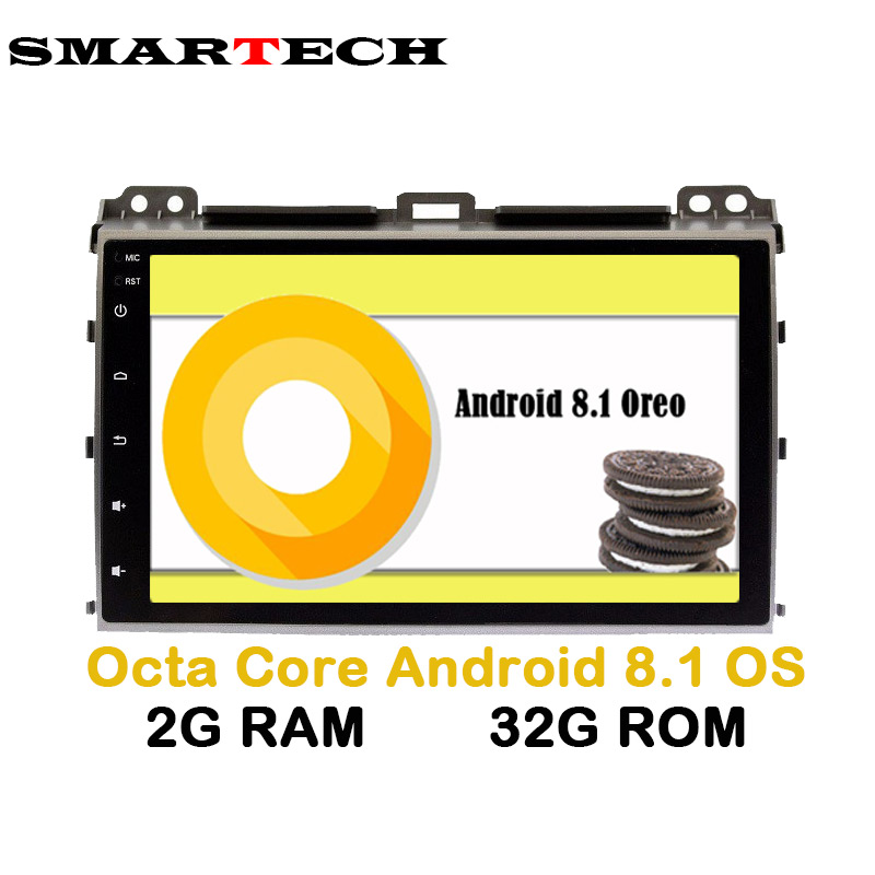 8 Core Android 8.1 Autoradio Lecteur pour Toyota Prado 120 Land Cruiser Radio Stéréo Navigation Satnav GPS WIFI 2g + 32 gb IPS Écran