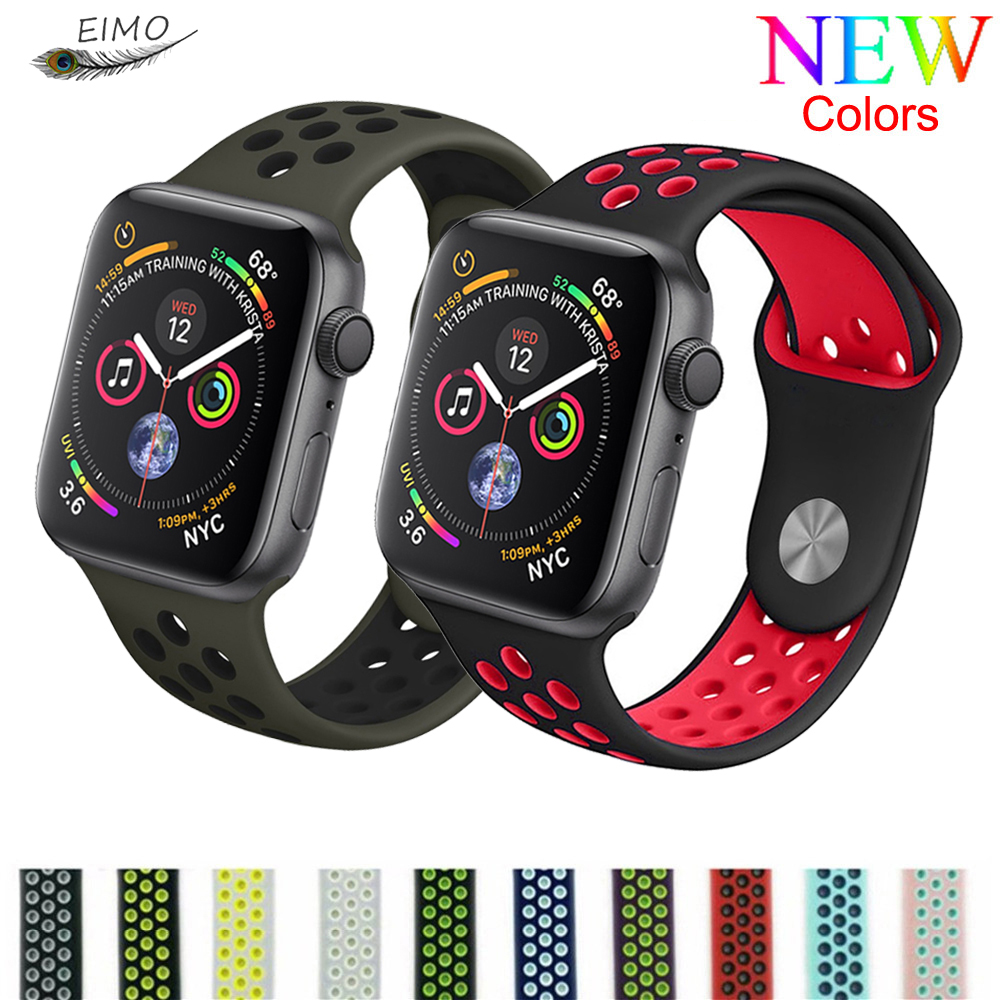 EIMO Silicone strap for Apple watch band apple watch 4 3 44 mm 38mm iwatch band 42mm 40mm correa watchband for apple watch 4 3