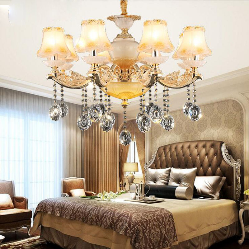 Living room crystal chandeliers European chandeliers hotel restaurants home bedrooms LED living room lighting fixture led lamps modern crystal chandelier led hanging lighting european style glass chandeliers light for living dining room restaurant decor