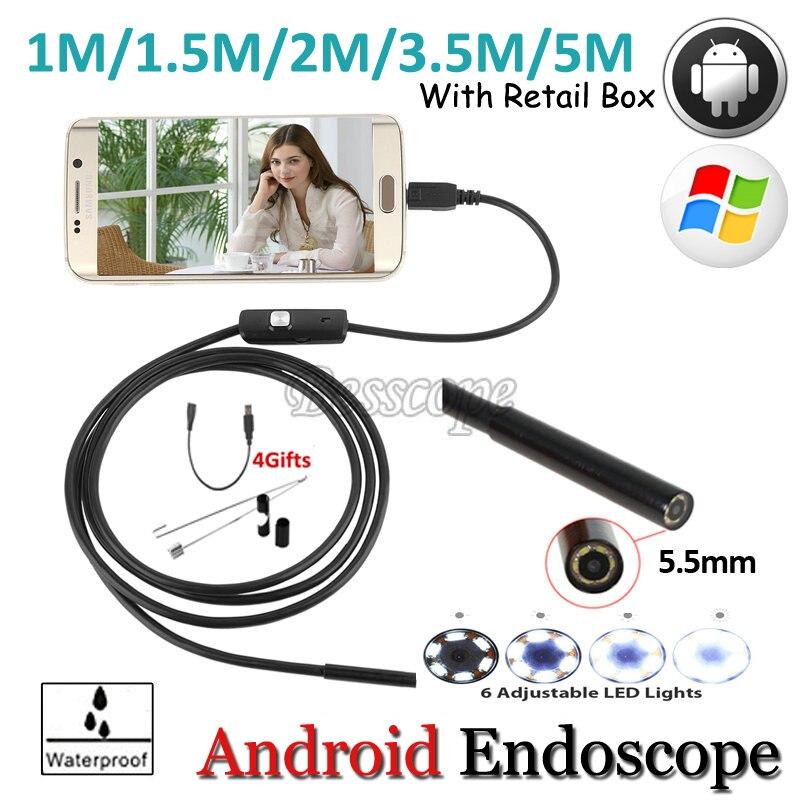 5.5mm Lens 1 M 2 M 3.5 M 5 M Android USB Macchina Fotografica Dell'endoscopio flessibile Snake Tubo di Ispezione USB Android Phone OTG USB Periscopio fotocamera