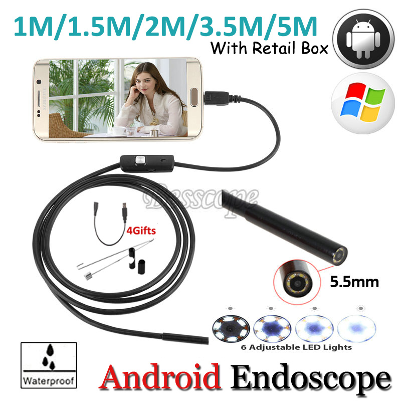 5.5mm Lens 1M 2M 3.5M 5M Android USB Endoscope Camera Flexible Snake USB Pipe Inspection Android Phone OTG USB Borescope Camera 2018 newest 4 9mm lens medical endoscope camera for otg android phone pc usb borescope inspection otoscope camera for ear nose