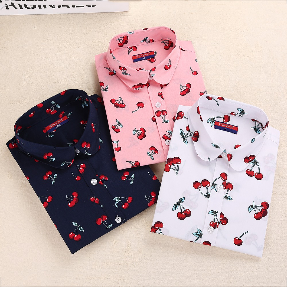 Summer Cotton Floral Women Shirts Casual Cherry Blouses Long Sleeve Ladies Tops Fashion Blusas Clothing For Womens Plus Size 5XL