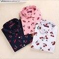 Nueva floral blusas de las mujeres camisas casuales cereza clothing blusas de manga larga de las señoras tops blusas de moda para las mujeres más del tamaño 5xl