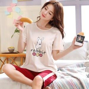 Image 3 - 큰 사이즈 xxl 3xl 4xl 5xl 여름 잠옷 코튼 홈 짧은 소매 여성 잠옷 얇은 잠옷 여성 바지 여성 캐주얼 레이디 홈