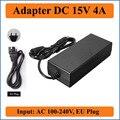 15 v 4a ue plugue ac dc adaptador 100-240 v conversor para dc 15 v 4000ma 60 w led fonte de alimentação carregador para luzes led ou lcd