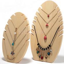 Nowość Handmade drewniany płomień kształt naszyjnik łańcuch stojak wystawowy na biżuterię wesele biżuteria łańcuszek wizytownik prezent