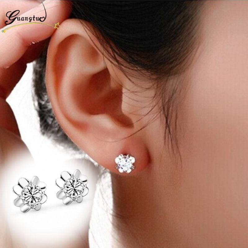 Fashion Mini Flower Shape Glossy Zircon Crystal Stud Earrings For Men Women Jewelry Pendientes Brincos Earring Bijoux