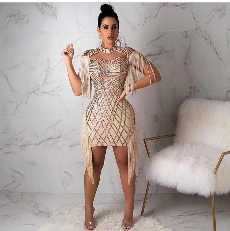 Femmes Sexy Corps Robes Halter Celebrity Empire Con Y1008 Paillettes Tassel Robe Bandage Parti Dos Nu En Club Gros Night Or BPrZOvBq