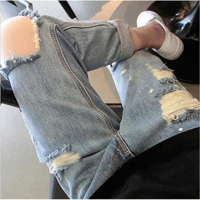 2015 Summer Style Mid Jeans Woman Knee Hole Slim Denim Ripped Boyfriend Jeans For Women Elastic Ripped Jeans
