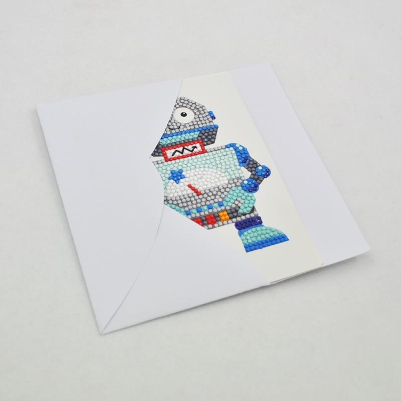 Happymems 4 75 7in 5D DIY Cute Robot Cartoon Diamond Painting Cards Postcards Diamond Painting Gift Embroidery Cards Crafts in Diamond Painting Cross Stitch from Home Garden