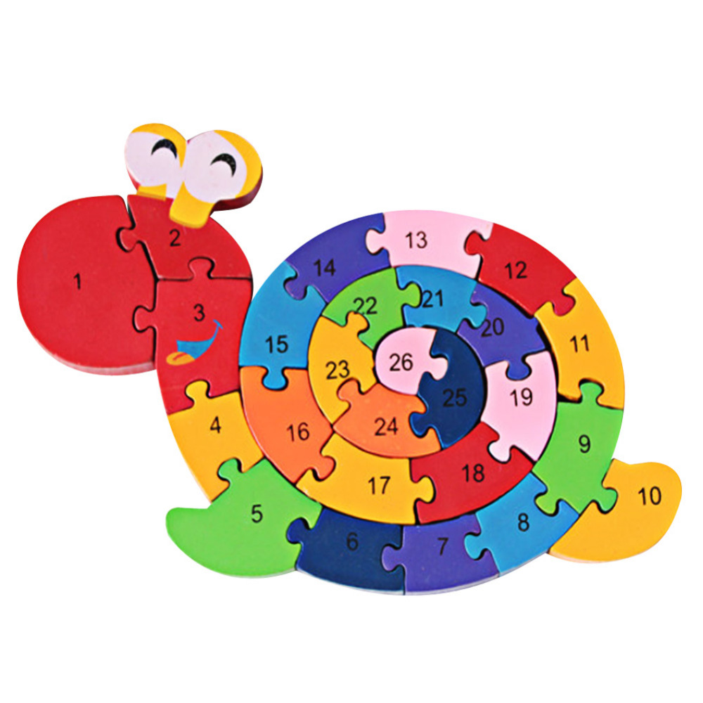3D Animal Wood Puzzle Children Number and Letter Learning Toy Colorful Elephant Dinosaur Crab Cow Ant Jigsaw Puzzles