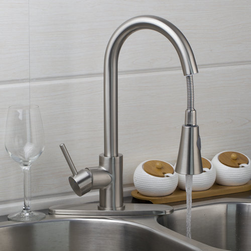 Pull Out Down Brushed Nickel Swivel 360 SPout Soild Brass Body Cover Plate Hot Cold Hose