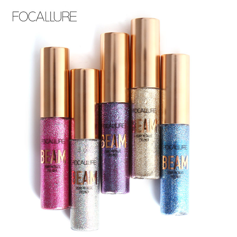 FOCALLURE New Product Glitter Eyeliner Eyeshadow 5 Colors Long Lasting Waterproof Liquid Eyeliner Beauty Eye Liner Makeup подводка ga de intense long lasting eyeliner