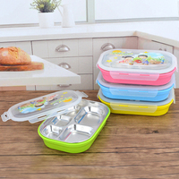 YiHAO Lunch Box Children 304 Stainless Steel Lunch Box Cartoon Students With Grid Insulation Cover With