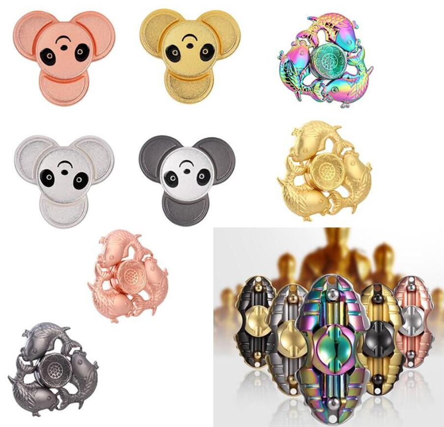 High-end Quality Fingertip Gyro Three Fish Egyptian Beetle Panda Fidget Hand Spinner Finger Spinner Relieve ADHD Autism Stress
