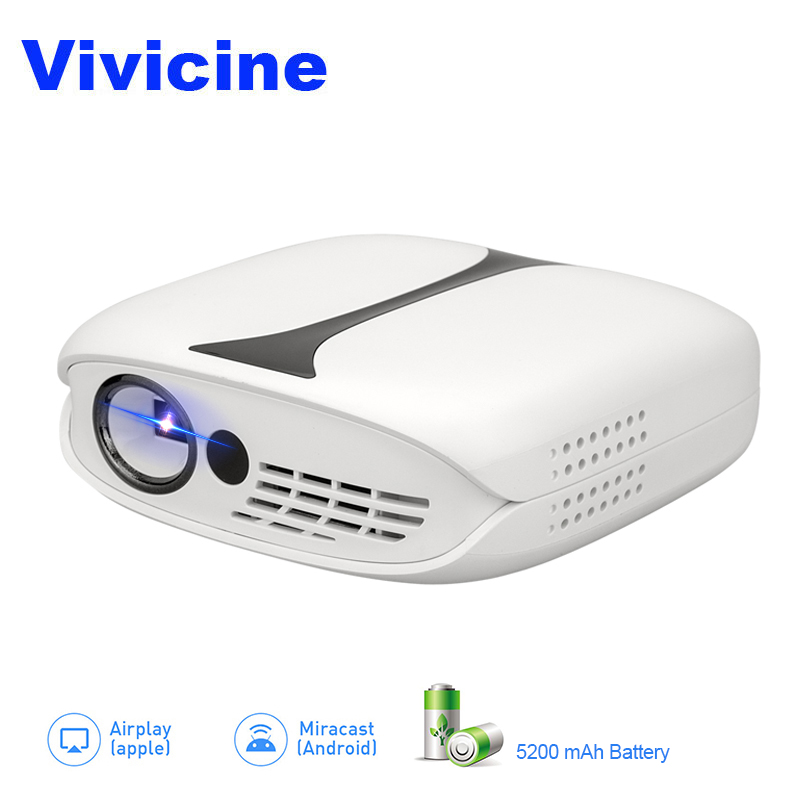 Vivicine New Mini DLP Projector,Sync with smart phone miracast airplay dlna HDMI USB PC Pico Pocket Proyector Beamer rigal rd606 mini led dlp projector hd portable wifi multi screen pocket pico projector miracast airplay battery active 3d beamer