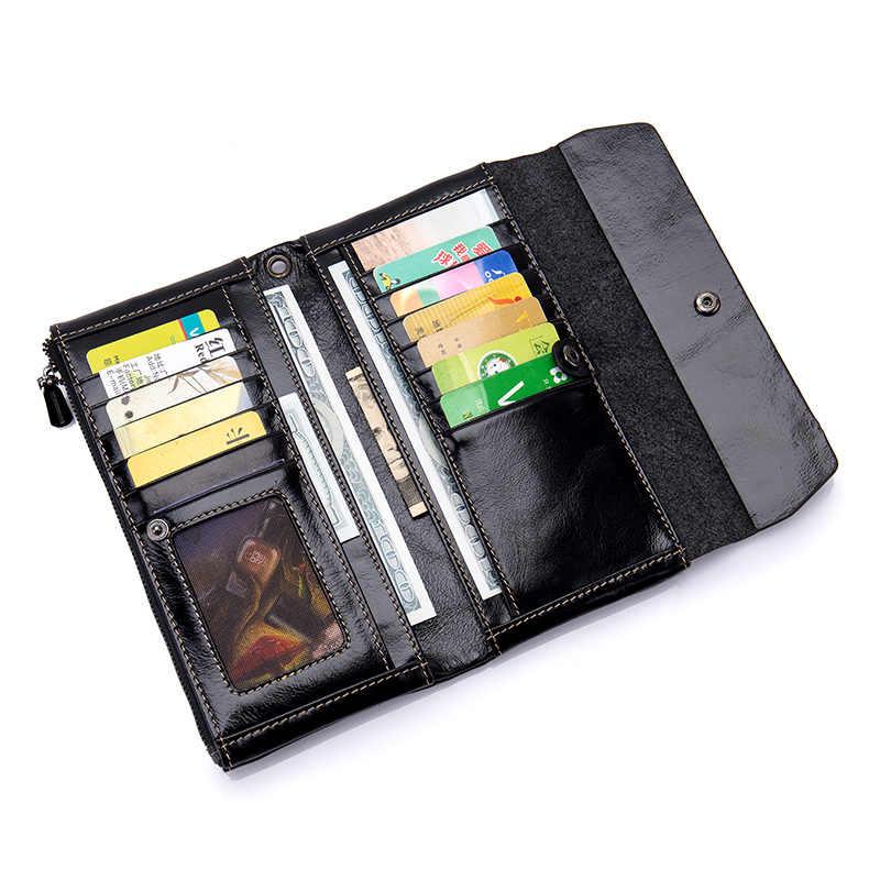 Os recém chegados carteiras femininas de grande capacidade premium genuíno óleo enceramento couro marca de moda multi-cartão bit bolsas femininas 2018
