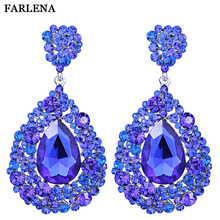 New Arrival Fashion Shining Austrian Crystal Earrings Long for Women Elegant Wedding
