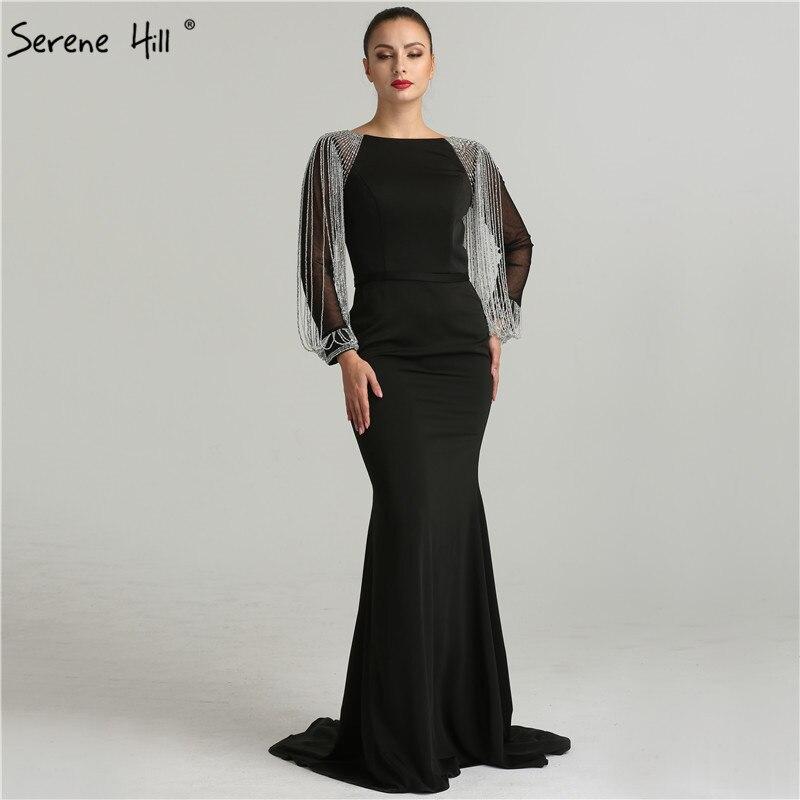 Elegant Long Sleeve Beads Tassels Mermaid Evening Dresses 2019 New Design Navy Blue Long Party Gown  Longo BLA6219 gown