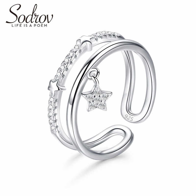 SODROV Star Ring  925 Sterling Silver Open Engagement Jewelry for women HR047 Personalized