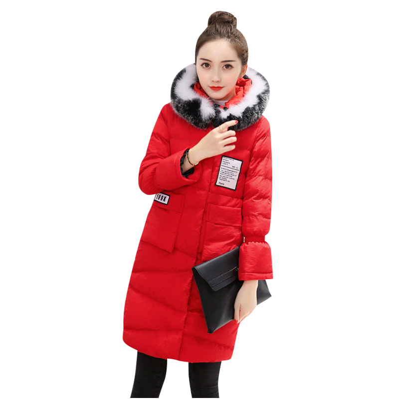2017 Winter Women's Coat Fashionable New Korean Edition High Quality Clothes Hair Collar Medium long Thick Warm Cotton Jacket