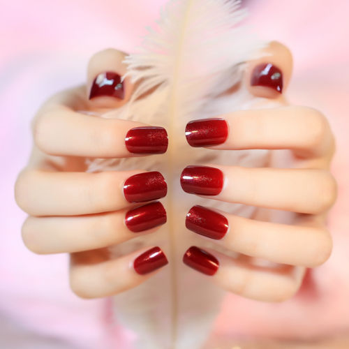 Finger Nail Art: Aliexpress.com : Buy 24Pcs Short Square Full Cover Red