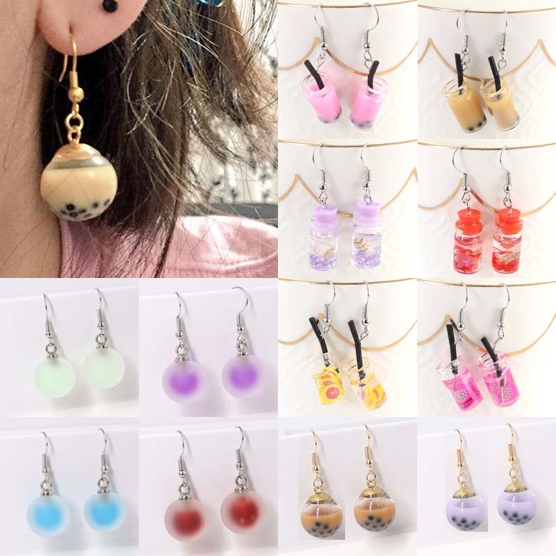 Drink Earring Milk-Tea Candy-Color Girls Resin Unique Gifts 1pair Creative Personality